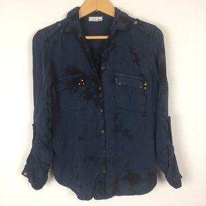 GARAGE Snap Button Shirt Distressed Rocker Edgy XS